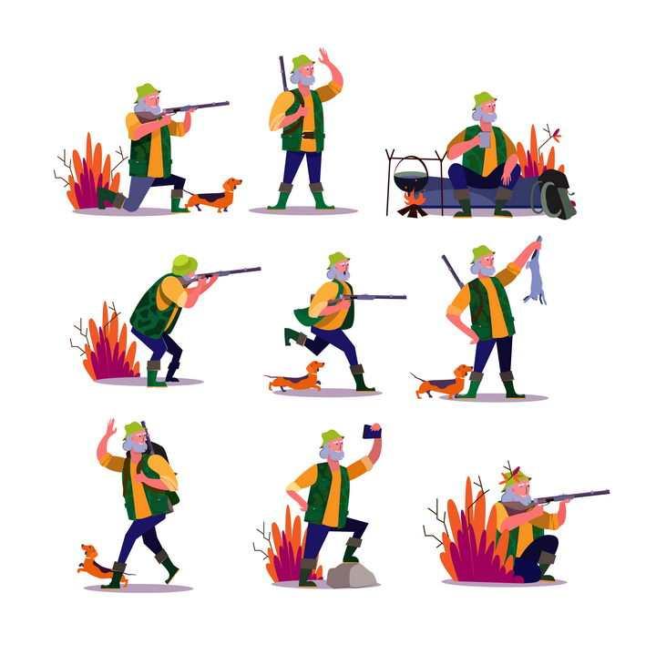 9款扁平插画风格正在打猎的猎人图片免抠矢量素材