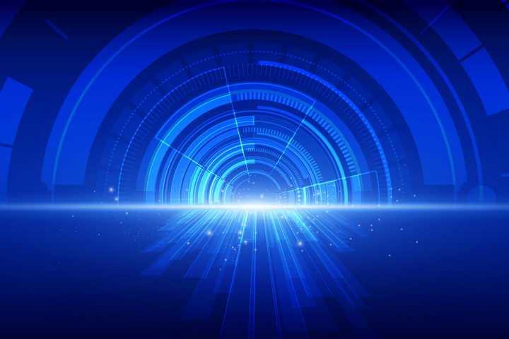 酷炫发光效果的蓝色速度表背景图