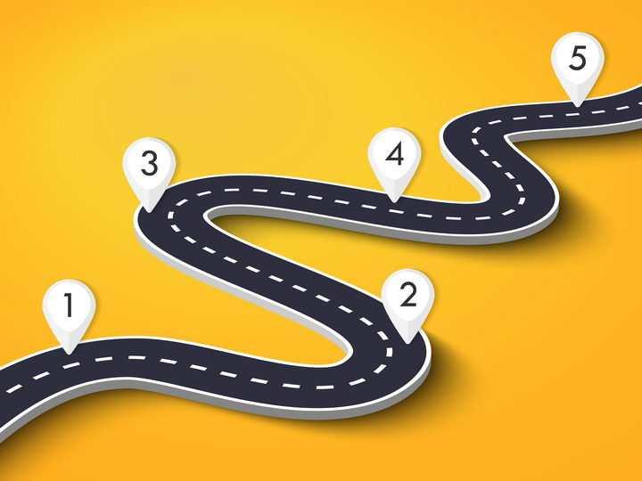 蜿蜒的通向远方的公路道路以及白色定位标志图片免抠矢量图
