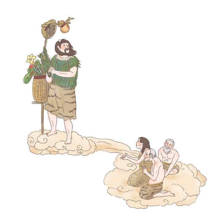 神农尝百草中国传统神话人物传说故事手绘彩色插图图片免抠png素材
