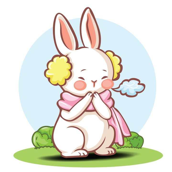 可爱卡通小兔子冬天戴耳罩怕冷哈气图片免抠矢量素材