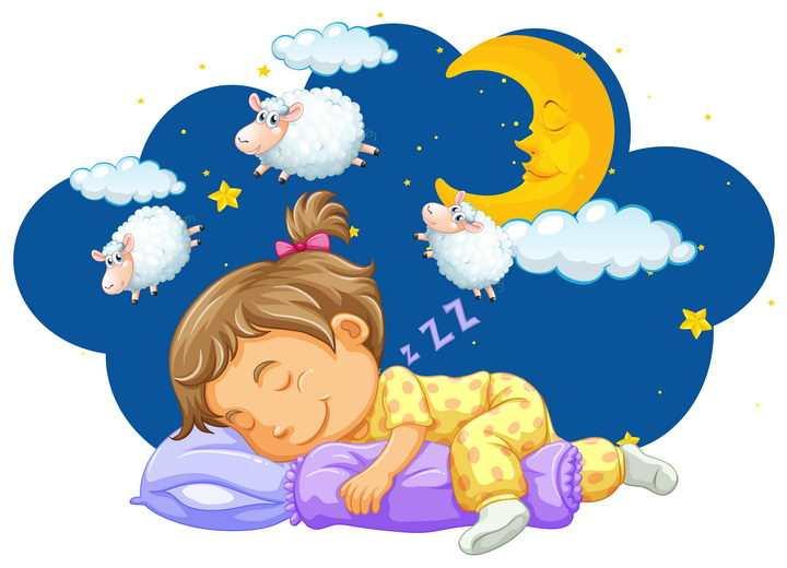 卡通小男孩正在数绵羊睡觉图片免抠矢量图素材