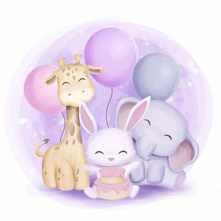 可爱的卡通小兔子长颈鹿大象图片免抠矢量素材