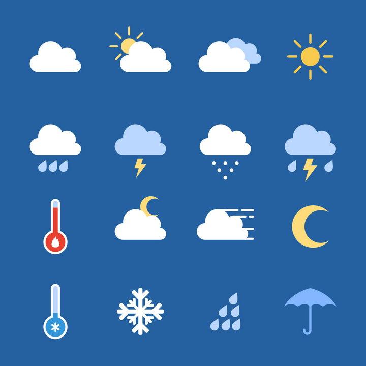 16款扁平化风格多云晴天高温低温下雨下雪等天气预报图标图片免抠矢量素材 图标-第1张