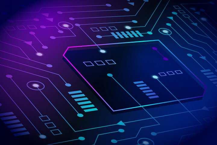 紫色蓝色线条电路背景图图片免抠矢量图素材