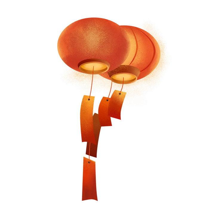 肌理插画风格大红灯笼图片免抠png素材