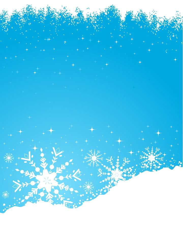 冬天里的雪花和雪地边框图片免抠矢量素材
