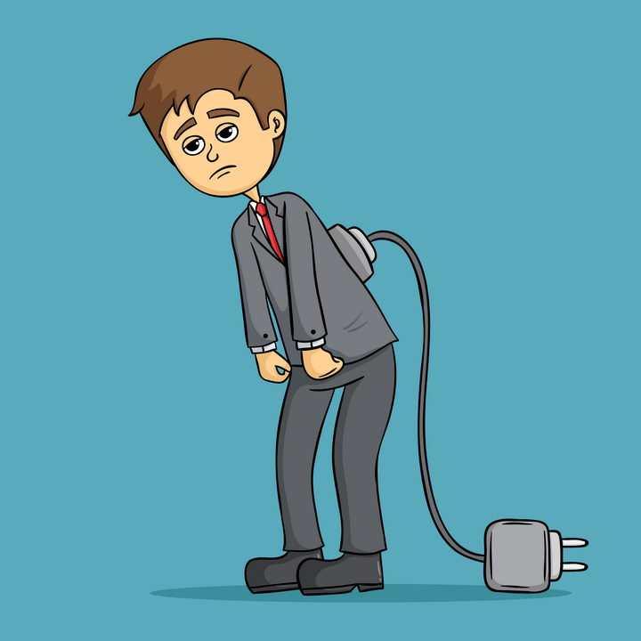 无精打采要充电的卡通年轻人图片免抠素材