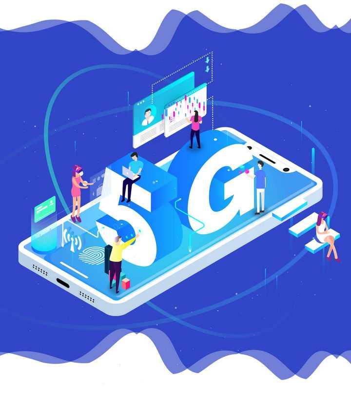 立体插画风格手机上的5G通信技术的应用图片免抠png素材