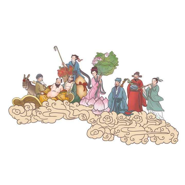 八仙过海中国传统神话人物传说故事手绘彩色插图图片免抠png素材