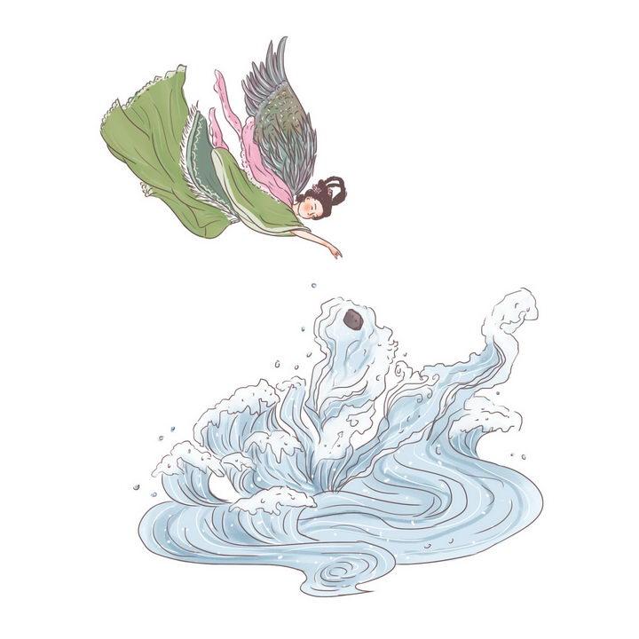 精卫填海中国传统神话人物传说故事手绘彩色插图图片免抠png素材 教育文化-第1张