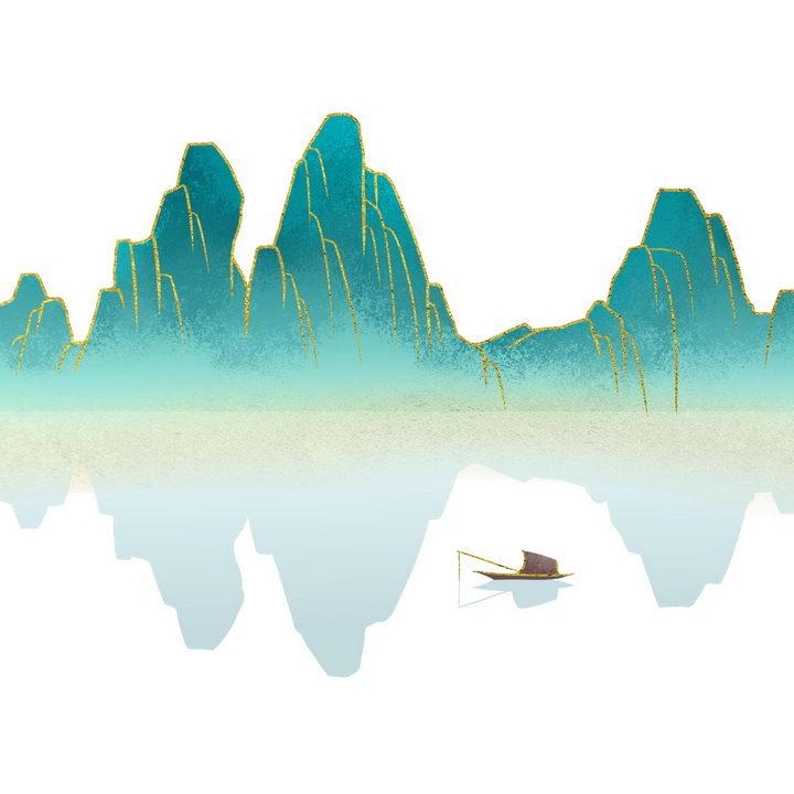 带有金丝装饰青色大山和近处的扁舟水墨画图片免抠png素材 插画-第1张