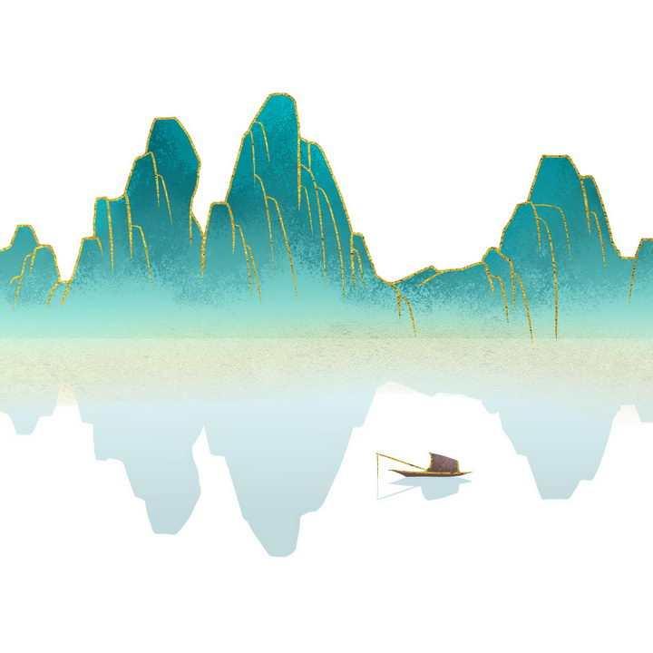 带有金丝装饰青色大山和近处的扁舟水墨画图片免抠png素材