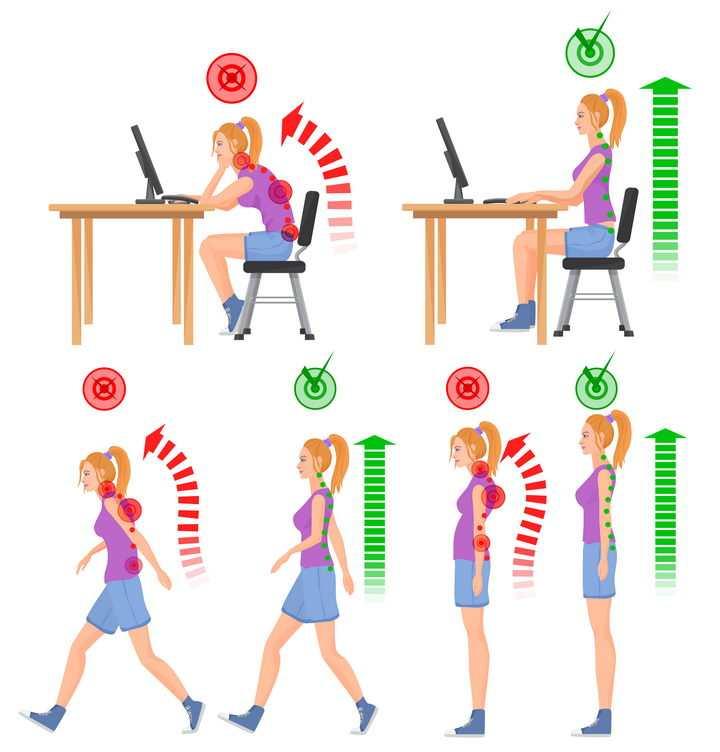 年轻女孩错误和正确坐姿站姿走路姿势图片免抠素材