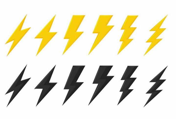 6款黄色和黑色闪电符号标志图案图片png免抠素材