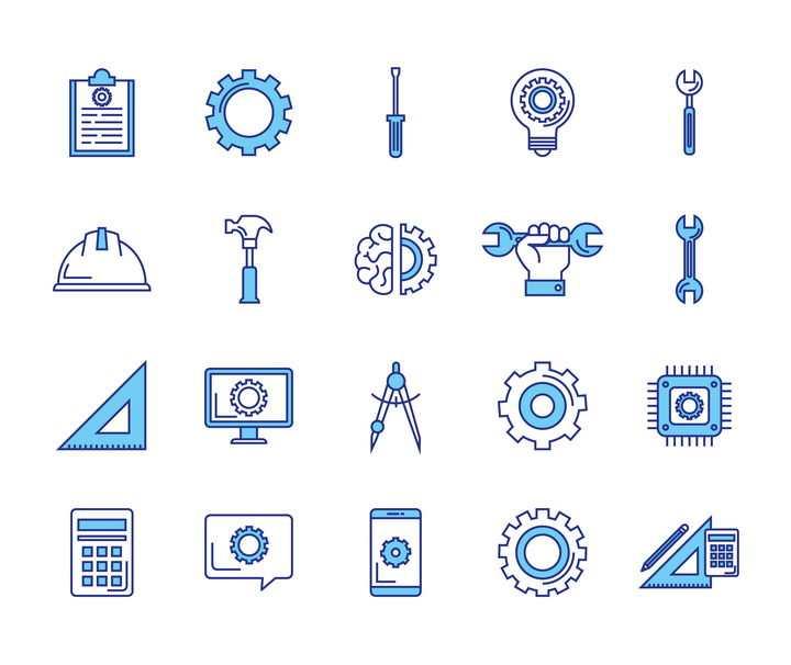 20款蓝色线条风格各类工具icon图标图片免抠矢量素材