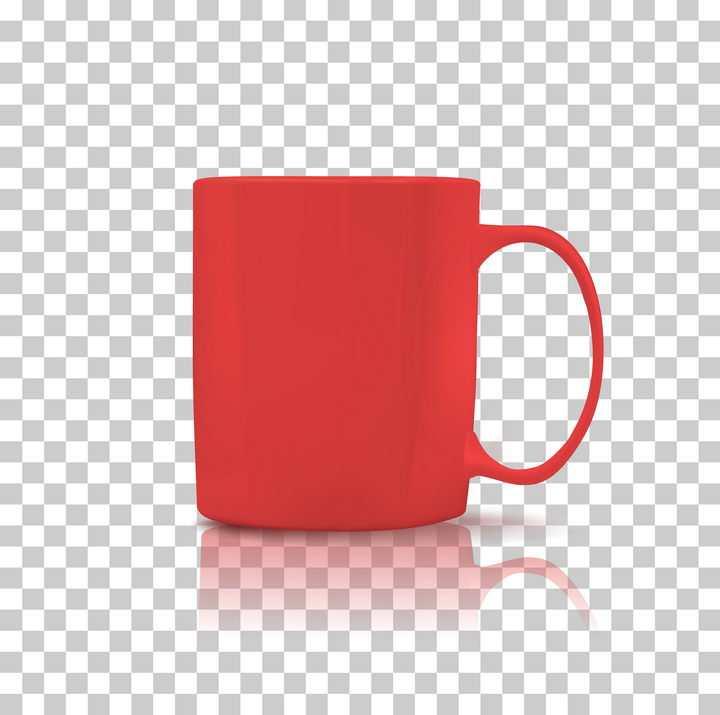 一个红色的咖啡杯马克杯子图片免抠矢量素材