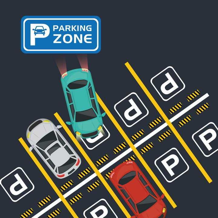 俯视视角的汽车停车场和车位标志图片免抠矢量素材