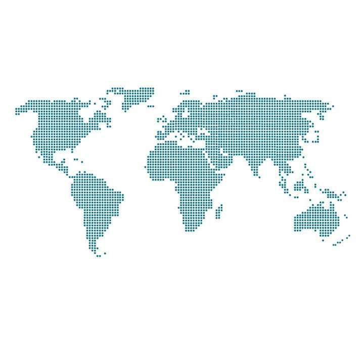 蓝色圆点组成的世界地图图案图片免抠矢量素材