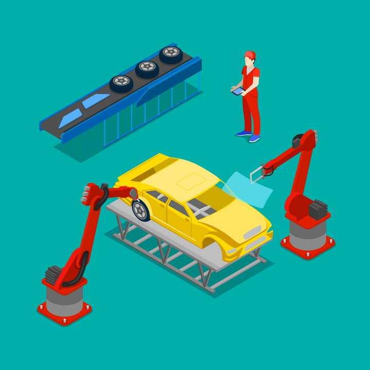 2.5D自动化汽车生产线上正在为汽车安装玻璃和轮胎的工业机器人图片免抠矢量素材