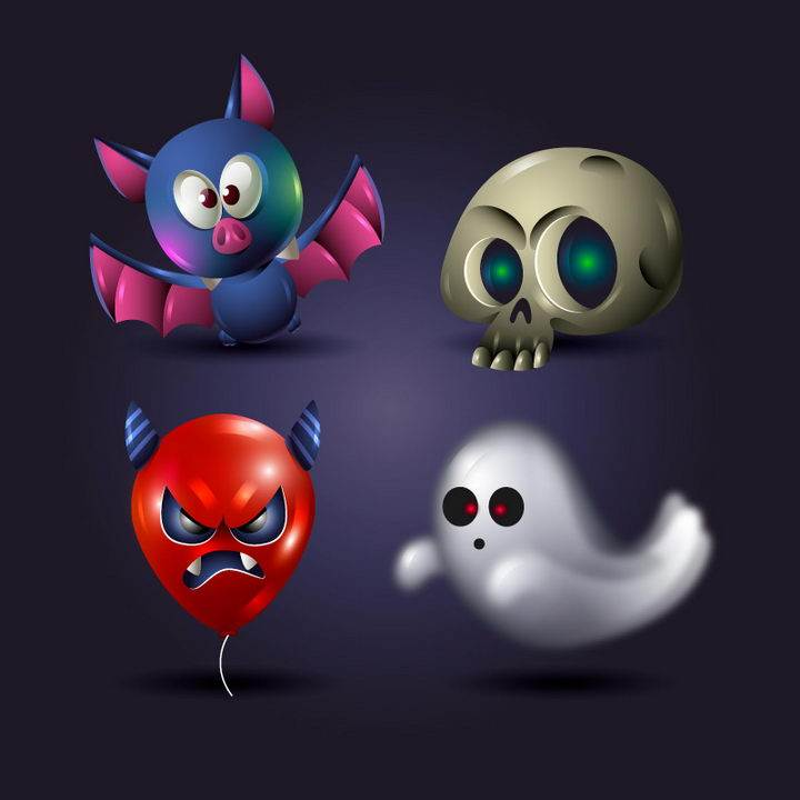 卡通风格蝙蝠骷髅头气球鬼魂等万圣节物品图片免抠矢量素材