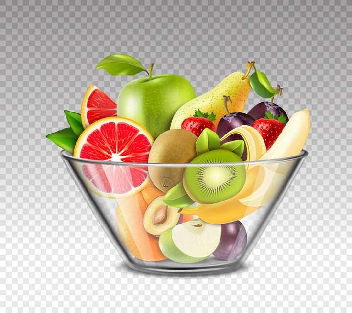 透明玻璃水果盘中的美味水果拼盘图片免抠素材