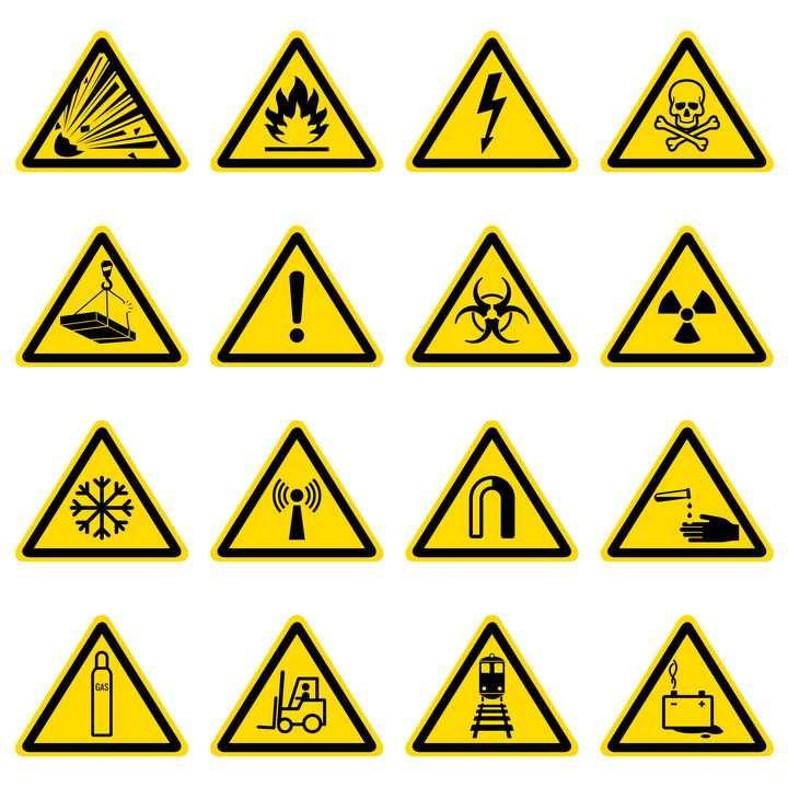 16款小心火当心触电高空坠物有毒有害等提示牌警告标志警示标牌图片免抠矢量素材
