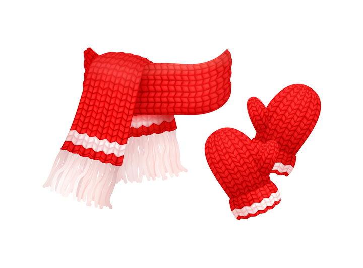 红色毛线织成的针织围巾和手套图片免抠矢量素材 生活素材-第1张