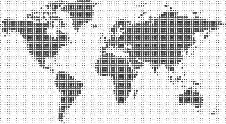圆形点阵组成的世界地图图片免抠矢量素材