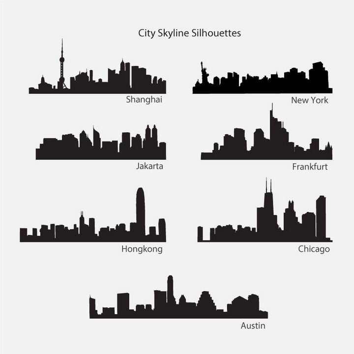 7款上海纽约香港等城市建筑天际线轮廓剪影图片免抠矢量图素材