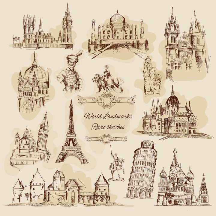 各种复古手绘素描风格世界各地知名旅游景点建筑图片免抠矢量图素材