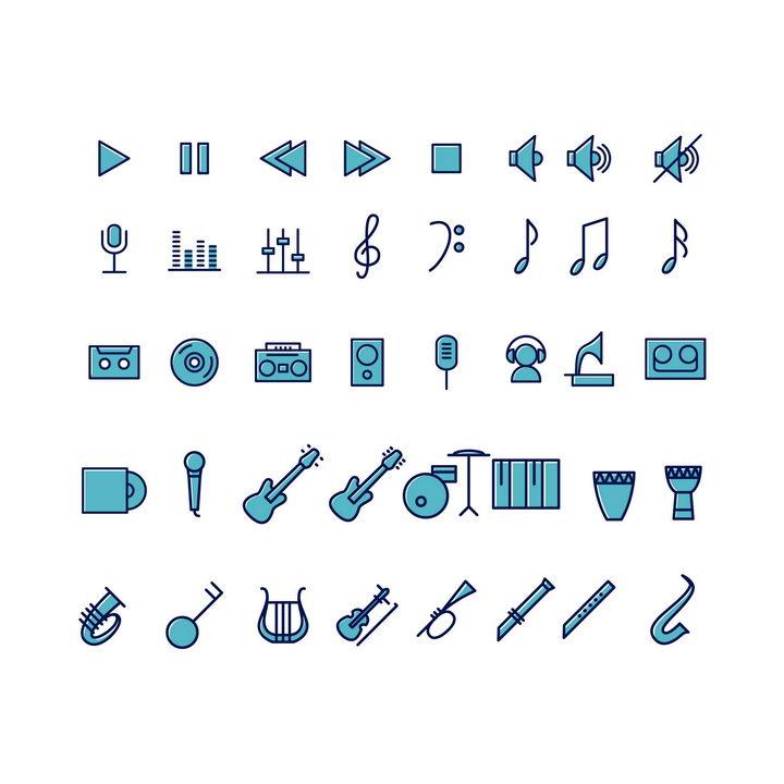 蓝色线面双色风格音乐播放器乐器类icon图标图片免抠素材 图标-第1张