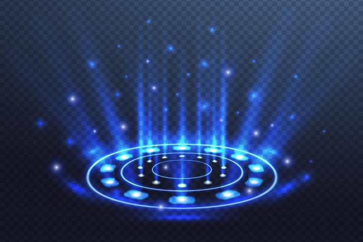 从下而上的蓝色光线射线效果图片免抠矢量图素材