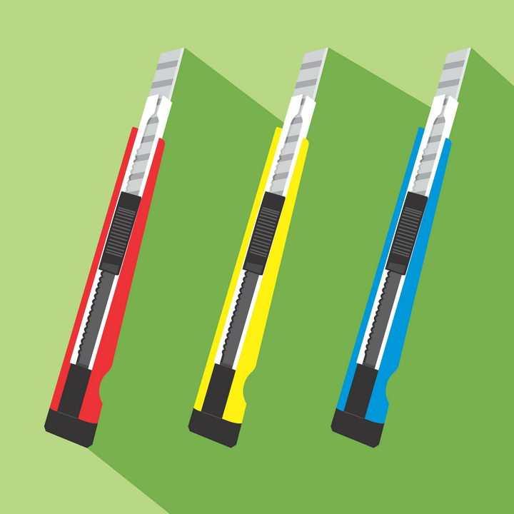3款红黄蓝色美工刀图片免抠矢量素材