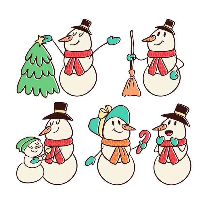 5款手绘卡通雪人图片免抠矢量图素材