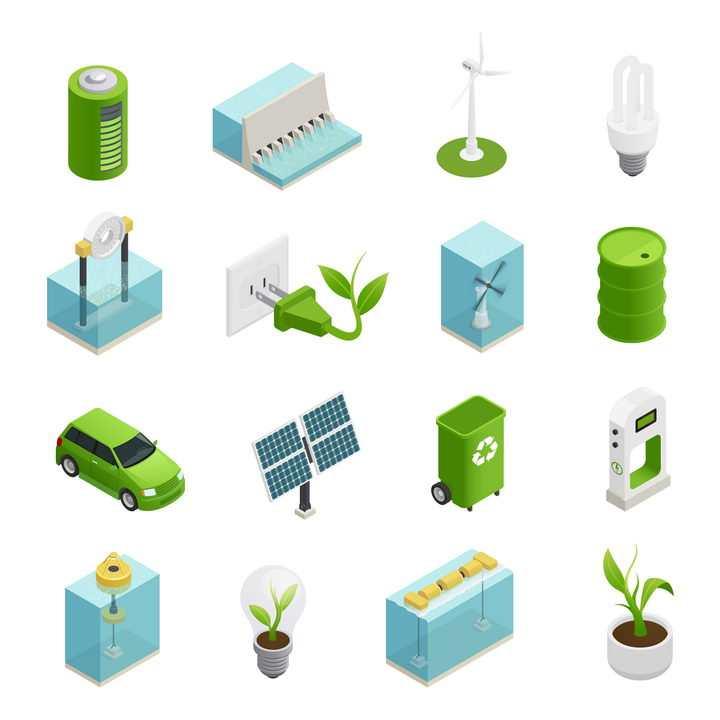 16款绿色电池风力发电机水力发电绿色汽车潮汐发电太阳能发电绿色垃圾桶新能源图片免抠素材