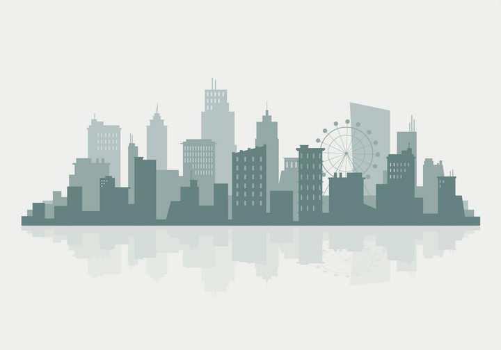 墨绿色城市建筑天际线轮廓倒影图片免抠矢量图素材