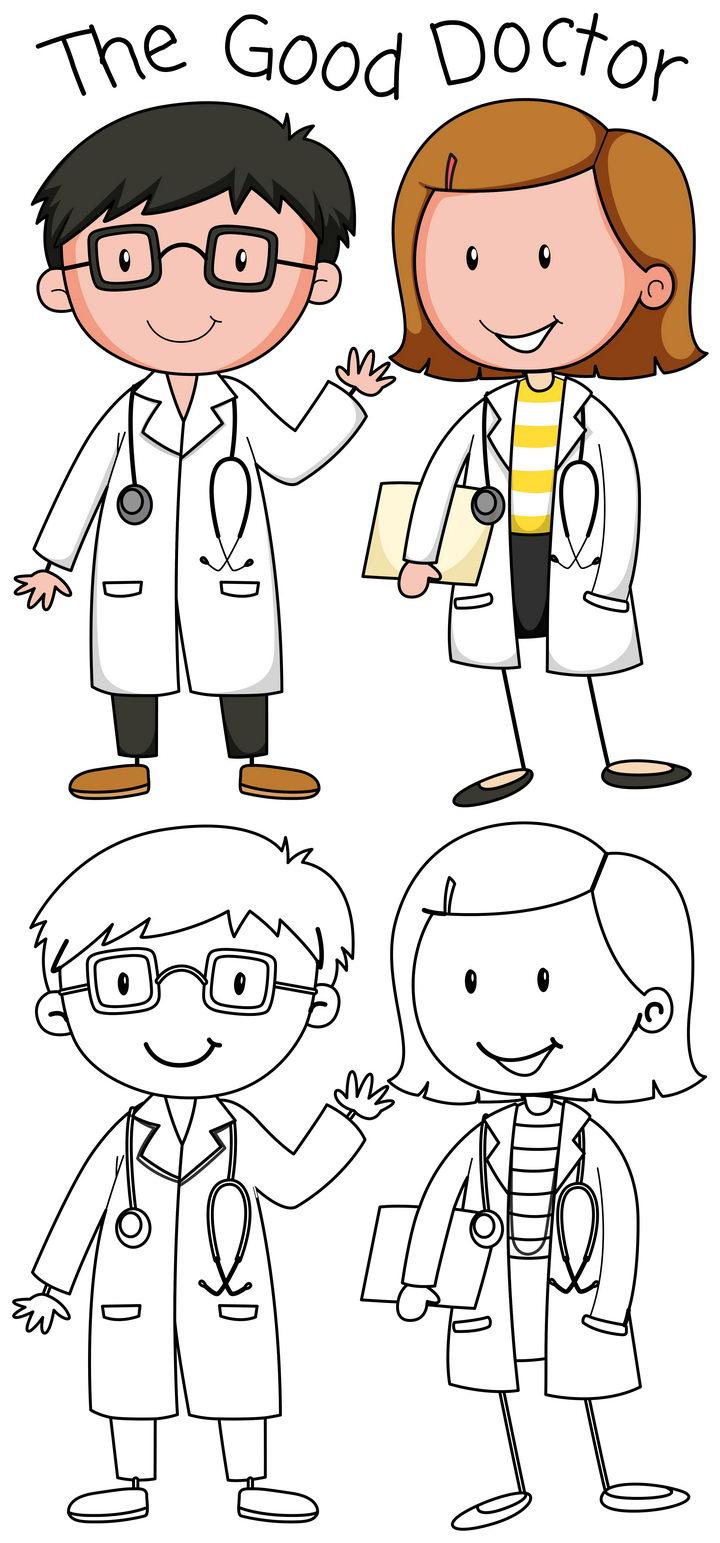 卡通医生简笔画儿童画图片免抠矢量素材 简笔画-第1张