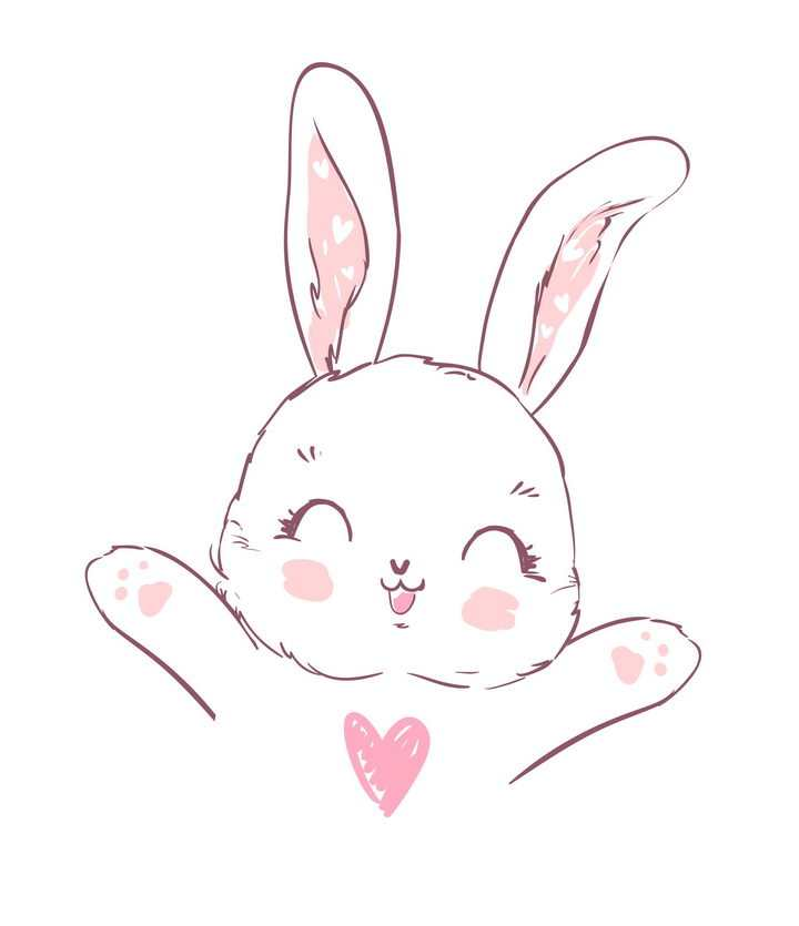 手绘风格求抱抱的卡通小兔子图片免抠矢量素材