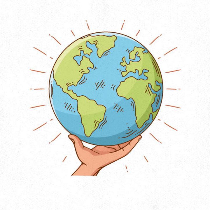 手绘卡通风格单手托起的地球图片免抠矢量素材