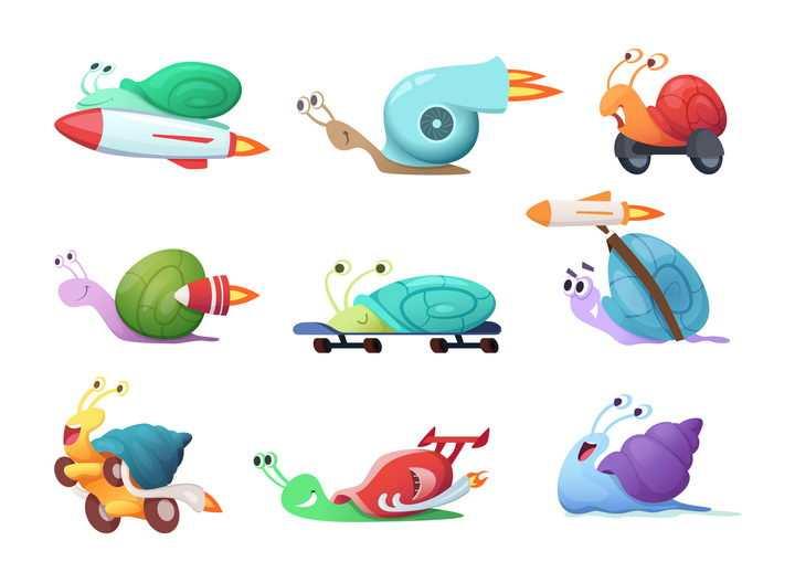 9种可爱的蜗牛坐火箭高速飞行的卡通蜗牛图片免抠矢量素材