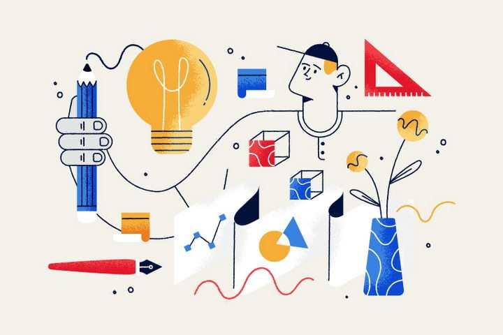 扁平插画风格正在学习的年轻人图片免抠矢量图素材