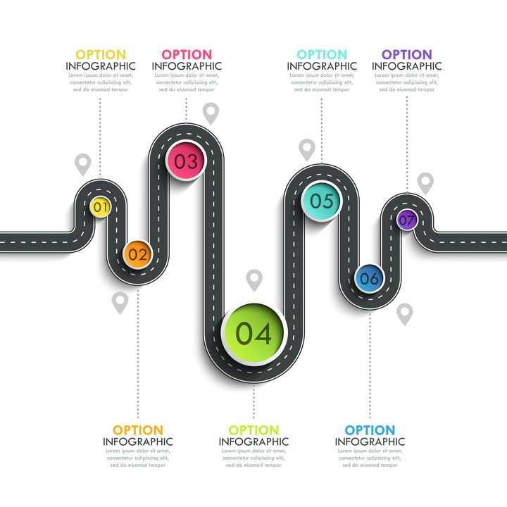 规整弯曲的公路道路步骤图时间轴图片免抠矢量图