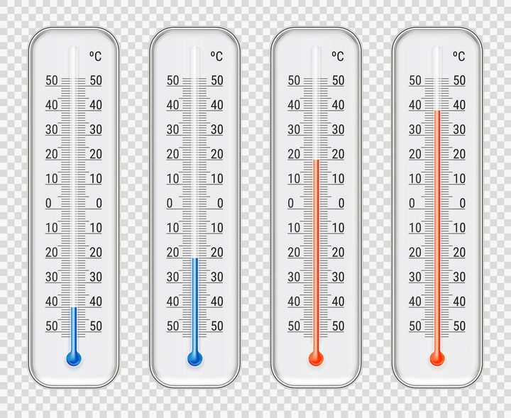 4款不同刻度的水银温度计图片免抠矢量素材