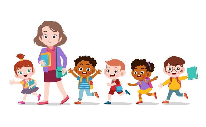 带领孩子一起排队下课的卡通老师图片免抠矢量素材