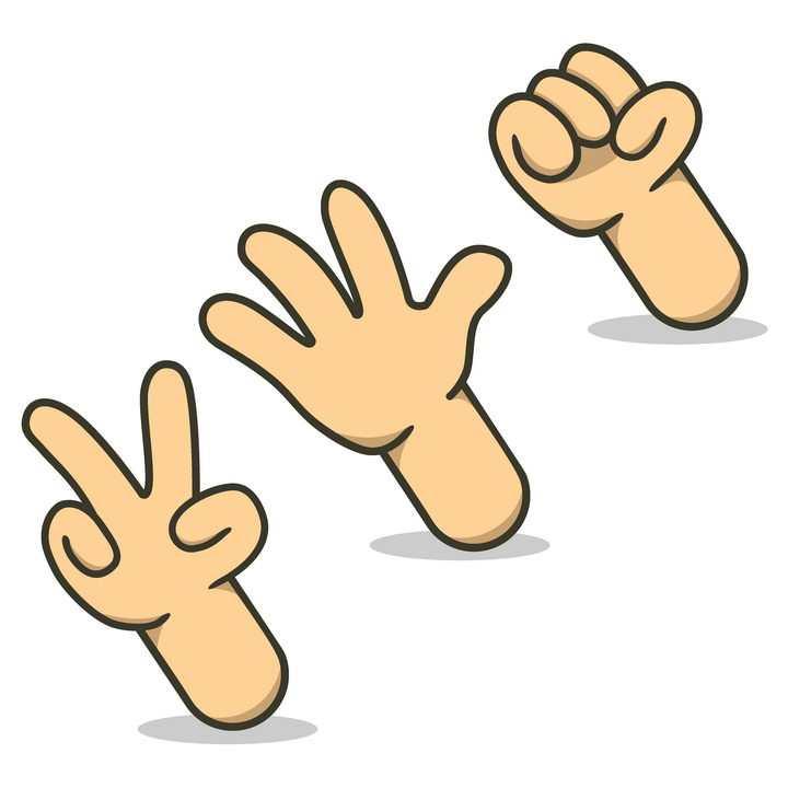 3款卡通手势剪刀手拳头手掌剪刀石头布图片免抠矢量素材
