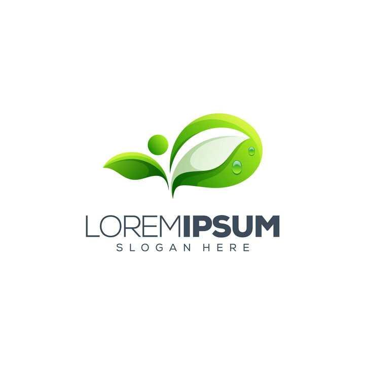 创意带水珠的绿色树叶发芽logo设计方案免抠矢量图素材