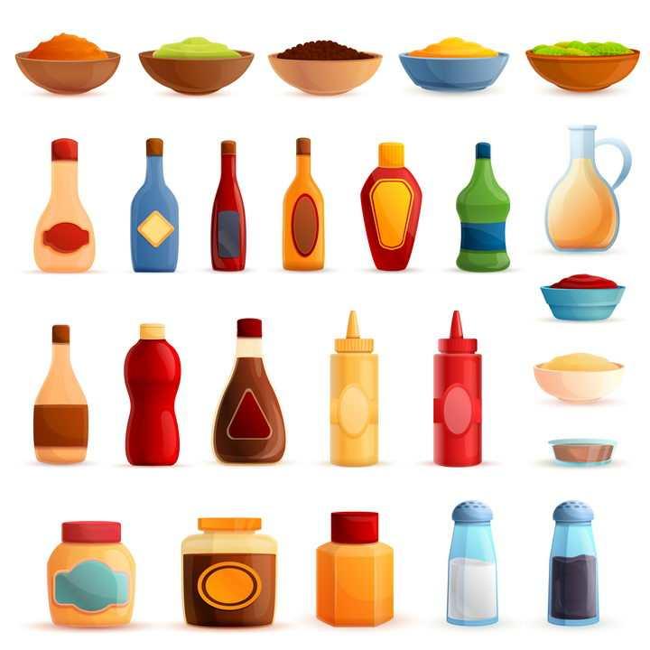 各种酱料番茄酱芥末酱等等美味调味品图片免抠矢量素材