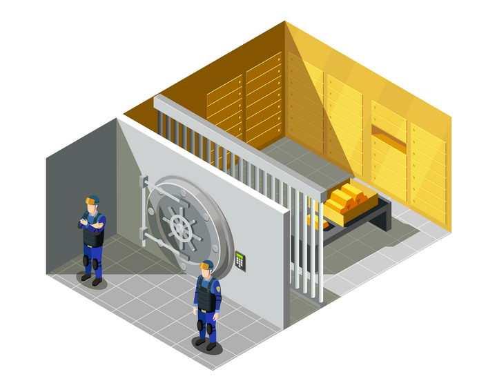 2.5D风格银行保险柜金库大门图片免抠矢量素材