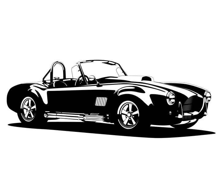 黑白画风格复古敞篷汽车免抠矢量图素材